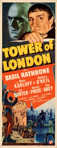 """Movie Posters:Horror, Tower of London (Universal, 1939). Fine/Very Fine. Insert (14"""" X 36""""). Horror.. ..."""