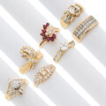Estate Jewelry:Rings, Diamond, Ruby, Gold Rings. ... (Total: 7 Items)