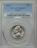 Jefferson Nickels, 1942 5C Type One MS66 Full Steps PCGS. PCGS Population: (55/11). NGC Census: (0/1). CDN: $275 Whsle. Bid for NGC/PCGS MS66....