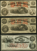 Obsoletes By State:Missouri, Unknown Location, MO- State of Missouri (Secessionist) $1 (2); $20 186_ Remainders Cr. 18A; Cr. 18B; Cr. 21A Crisp Uncirc... (Total: 3 notes)