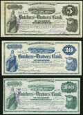 St. Louis, MO- Butchers' and Drovers' Bank of St. Louis $5; $10; $100 ND (ca. 1876-77) Very Fine or Better