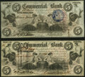 Obsoletes By State:Indiana, Terre Haute, IN- Commercial Exchange Bank $5 (2) Aug. 3,1858 Wolka 2325-05; 2325-09 About Uncirculated.. ... (Total: 2 notes)