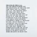 Prints & Multiples, Jenny Holzer (b. 1950). End of USA, from Inflammatory Essays, 1982. Offset lithograph on paper. 17 x 16-7/8 inches (...