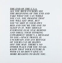 Jenny Holzer (b. 1950) End of USA, from Inflammatory Essays, 1982 Offset lithograph on pa