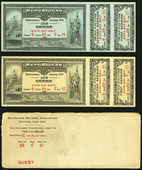 Pair of Guest Tickets for the 1916 Republican Convention in Chicago, IL with Original Envelope