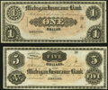 Obsoletes By State:Michigan, Detroit, MI- Michigan Insurance Bank $1; $5 18__ Remainders G36a; G46a Choice About Uncirculated; Crisp Uncirculated.. ... (Total: 2 notes)