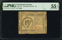 Continental Currency November 29, 1775 $8 PMG About Uncirculated 55 EPQ