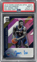 Basketball Cards:Singles (1980-Now), 2019 Panini Donruss Optic Zion Williamson Signature Series Pink #SS-ZWL PSA Mint 9, Auto 10 - Serial Numbered 3/25....