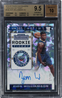 "2019 Panini Contenders ""Cracked Ice"" Zion Williamson (Rookie Ticket Autograph) #108 BGS Gem Mint 9.5, Auto 10..."