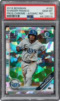 Baseball Cards:Singles (1970-Now), 2019 Bowman Chrome Prospects Wander Franco (Atomic Refractor) #100 PSA Gem Mint 10. ...