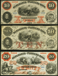 Savannah, GA- Merchants and Planters Bank $10 (2); $20 1859-60 G10a; G10b; G12b Extremely Fine; About Uncirculated