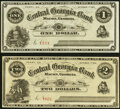 Obsoletes By State:Georgia, Perry, GA- Unknown Issuer at the Central Georgia Bank of Macon $1; $2 Oct. 1, 1874 Remainders Crisp Uncirculated.. ... (Total: 2 notes)