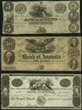 Obsoletes By State:Georgia, Augusta, GA- Bank of Augusta $5; $50; $100 18__ Remainders G66; G108; G112 Crisp Uncirculated.. ... (Total: 3 notes)