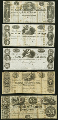 Augusta, GA- Bank of Augusta $2; $3 (2); $4; $20 Post Note 18__ Remainders G38a; G50; G50a; G54a; G118a Extremely