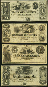 Augusta, GA- Bank of Augusta $1 (2); $2 (2) 18__ Remainders G26; G28; G42; G44 About Uncirculated or Better.</