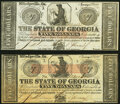 Milledgeville, GA- State of Georgia $5 (2) Jan. 15, 1862 Cr. 5; Cr. 5A Crisp Uncirculated. ... (Total: 2 notes)