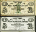 Cincinnati, OH- Nelson's College - First International Bank $1 (2) Sep. 1,1870 Fine; Very Fine-Extremely Fine