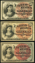Fractional Currency:Fourth Issue, Fr. 1257 10¢ Fourth Issue Two Examples Extremely Fine or Better;. Fr. 1259 10¢ Fourth Issue Very Fine.. ... (Total: 3 notes)