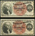 Fractional Currency:Fourth Issue, Fr. 1301 25¢ Fourth Issue Extremely Fine;. Fr. 1302 25¢ Fourth Issue About New.. ... (Total: 2 notes)