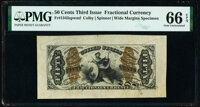 Fr. 1343SP 50¢ Third Issue Justice Wide Margin Face PMG Gem Uncirculated 66 EPQ