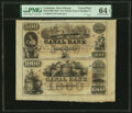 Obsoletes By State:Louisiana, New Orleans, LA- Canal Bank $500-$1000 1850s G70a-G80a Remainder Sheet PMG Choice Uncirculated 64 EPQ.. ...