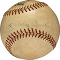 Baseball Collectibles:Balls, 1962 Mickey Mantle Signed Home Run Baseball, MEARS Authentic--Number 25 of MVP Season & 399 of Career....
