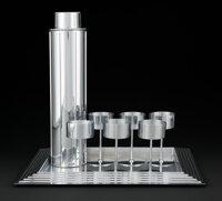 Norman Bel Geddes (American, 1893-1958) Manhattan Cocktail Set, circa 1937, Revere Copper and Brass Company Chrome-pl...