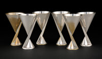 La Maison Desny (French, 1927-1933) Set of Six Cocktail Cups, circa 1930 Silver-plated brass 5 x 2-7/8 inches (12.7 x...