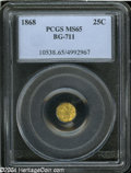 California Fractional Gold: , 1868 Liberty Octagonal 25 Cents, BG-711, R.4, MS65 PCGS. ...