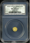 California Fractional Gold: , 1872/1 25C Indian Octagonal Gold 25 Cents, MS60 Details, ...