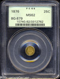 California Fractional Gold: , 1876 25C Indian Round 25 Cents, BG-879, R.4, MS62 PCGS. ...