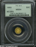 California Fractional Gold: , 1880 50C Indian Octagonal 50 Cents, BG-955, R.6, MS64 PCGS.