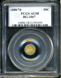 California Fractional Gold: , 1880/70 50C Indian Round 50 Cents, BG-1067, Low R.4, AU58 ...