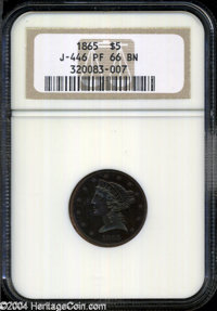 1865 $5 Five Dollar, Judd-446, Pollock-518, High R.6, PR 66 Brown NGC. The obverse depicts a head of Liberty similar to...