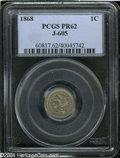 1868 1C One Cent, Judd-605, Pollock-670, R.5, PR62 PCGS. A diminutive pattern cent with an obverse similar to the adopte...