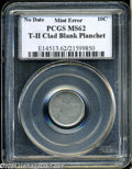 Errors: , (Undated) Clad Dime-- 10C Type Two Blank Planchet--MS62 PCGS....