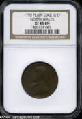 Colonials: , 1795 1/2P Washington North Wales Halfpenny, Plain Edge XF45 ...