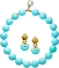 Turquoise, South Sea Cultured Pearl, Diamond, Gold Jewelry Suite