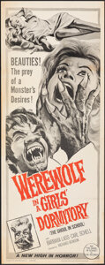 "Movie Posters:Horror, Werewolf in a Girls' Dormitory (MGM, 1963). Folded, Fine/Very Fine. Insert (14"" X 36""). Horror.. ..."