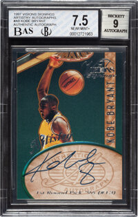 1997 Visions Signings Artistry Kobe Bryant Autograph #A8 BGS NM+ 7.5, BAS Auto 9