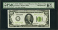Fr. 2151-J $100 1928A Light Green Seal Federal Reserve Note. PMG Choice Uncirculated 64 EPQ