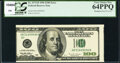 Misaligned Face Printing Error Fr. 2175-B $100 1996 Federal Reserve Note. PCGS Very Choice New 64PPQ