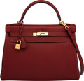 "Luxury Accessories:Bags, Hermès 32cm Rouge H Togo Leather Retourne Kelly Bag with Gold Hardware. R Square, 2014. Condition: 3 . 12.5"" Width..."