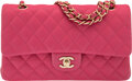 """Luxury Accessories:Bags, Chanel Pink Quilted Calfskin Leather Medium Double Flap Bag with Brushed Gold Hardware. Condition: 2. 10"""" Width x 6"""" H..."""