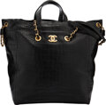 """Luxury Accessories:Bags, Chanel Black Crocodile Embossed Leather Shopper Tote with Brushed Gold Hardware. Condition: 1. 12.5"""" Width x 13"""" Heigh..."""