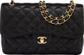 """Luxury Accessories:Bags, Chanel Black Caviar Leather Double Flap Jumbo Bag with Gold Hardware. Condition: 1. 12"""" Width x 7.5"""" Height x 3.5"""" Dep..."""