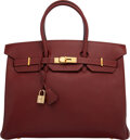 """Luxury Accessories:Bags, Hermès Vintage 35cm Rouge Grenat Epsom Leather Birkin Bag with Gold Hardware. B Square, 1998. Condition: 3. 14"""" Wi..."""