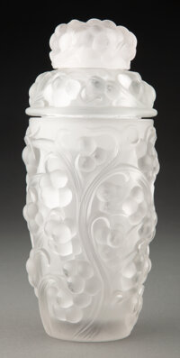Rene Lalique (French, 1860-1945) Thomery Cocktail Shaker, circa 1928 Molded clear and frosted glass 9 inches (22.9 cm