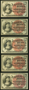 Fractional Currency:Fourth Issue, Fr. 1259 10¢ Fourth Issue Five Examples Extremely Fine or Better.. ... (Total: 5 notes)