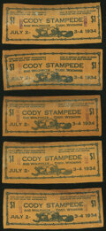 Obsoletes By State:Wyoming, Cody, WY-Cody Stampede $1 July 2-4, 1934 Leather Notes Ten Examples.. ... (Total: 10 notes)